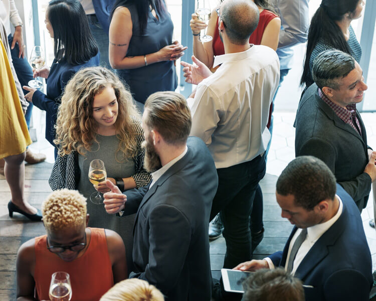 People chatting in an event